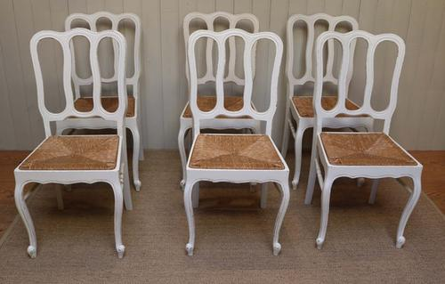 Set of 6 Painted French Oak Dining Chairs c.1920 (1 of 1)