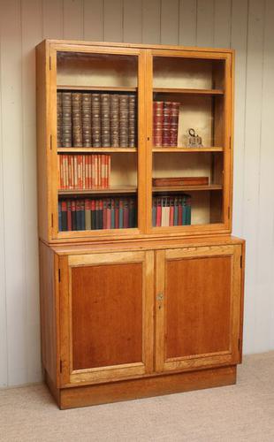 Large Light Oak Cabinet Bookcase, English c.1961 (1 of 1)
