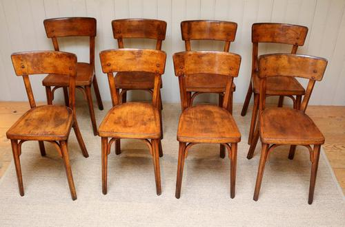 Set of 8 French Beechwood & Ply Dining Chairs c.1930 (1 of 1)
