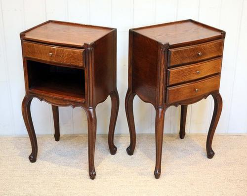 Pair of French Oak Bedside Cabinets / Tables C.1920 (1 of 1)