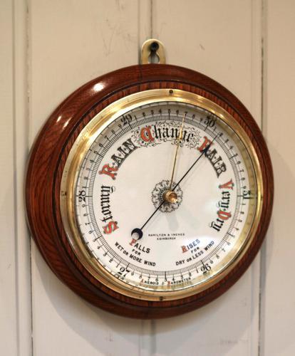 Circular Oak Aneroid Barometer c.1910 (1 of 1)