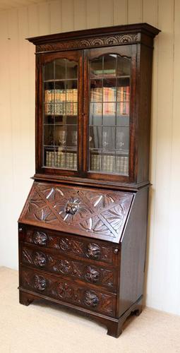 Carved Oak Green Man Bureau Bookcase, English c.1890 (1 of 1)