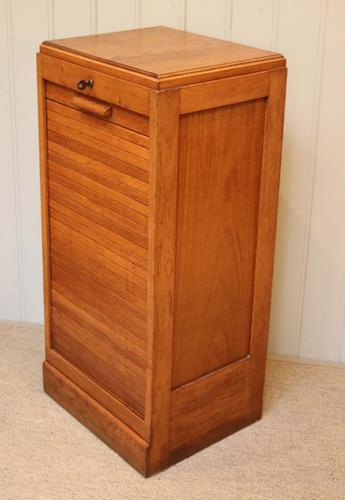 Small French Oak Tambour Front Filing Cabinet c.1920 (1 of 1)