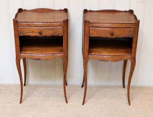 French Pair of Oak Bedside Tables c.1910 (1 of 1)