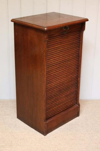 Single Oak Tambour Front Filing Cabinet, French c.1920 (1 of 1)