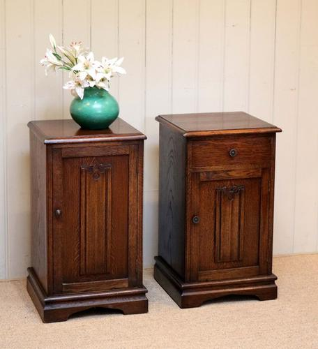 Pair of Oak Linen-fold Front Bedside Cabinets, English (1 of 1)