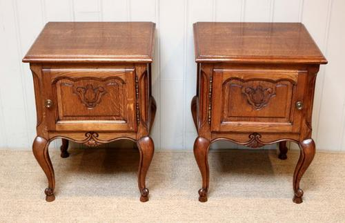Pair of French Low Oak Bedside Cabinets (1 of 1)