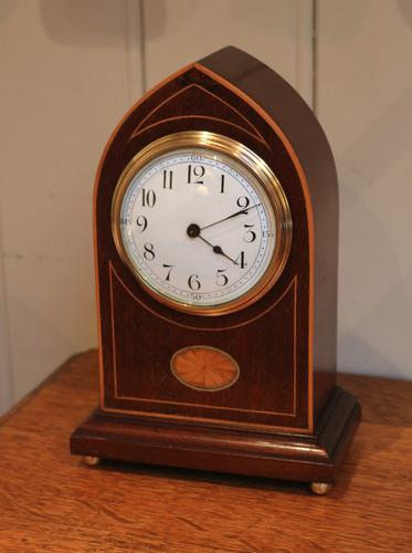 Edwardian Mahogany & Inlay Lancet Top Mantel Clock (1 of 1)