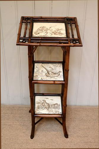 Victorian Bamboo Three Tier Tile Table, England c.1890 (1 of 1)