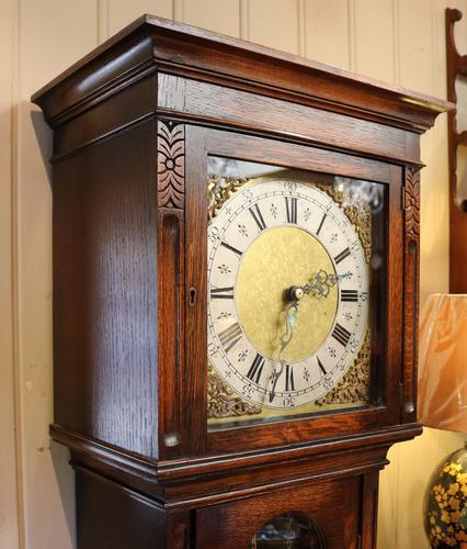Small Oak Westminster Chime Longcase Clock, England C.1920 (1 of 1)