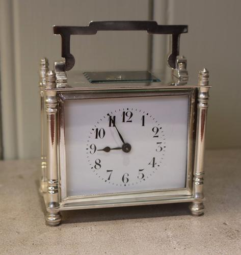 Silver Plated Timepiece Carriage Clock with Case, France c.1910 (1 of 1)