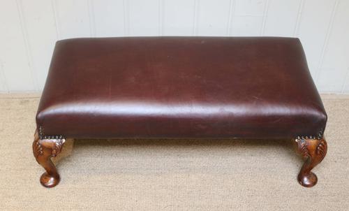 Walnut Framed Leather Footstool c.1920 (1 of 1)