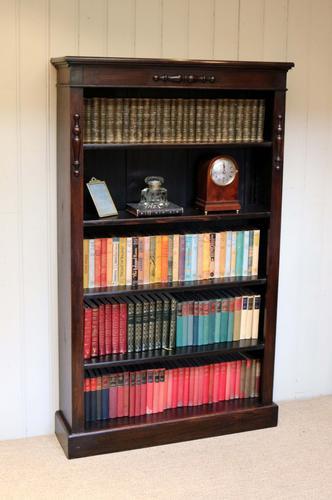 Dark Oak Tall Open Bookcase (1 of 1)