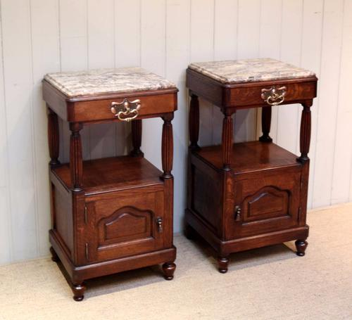 Pair of Oak Marble Top Bedside Cabinets c.1920 (1 of 1)