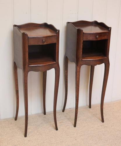 Pair of Slim French Oak Bedside Cabinets c.1920 (1 of 1)