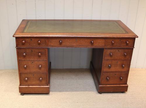 Solid Oak Pedestal Desk c.1890 (1 of 1)