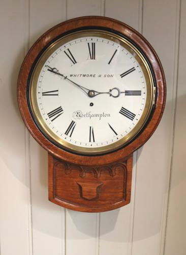 Oak Drop Dial Wall Clock, England c.1860 (1 of 1)