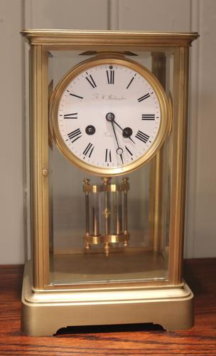 French Bell Striking Four Glass Clock, France c.1860 (1 of 1)