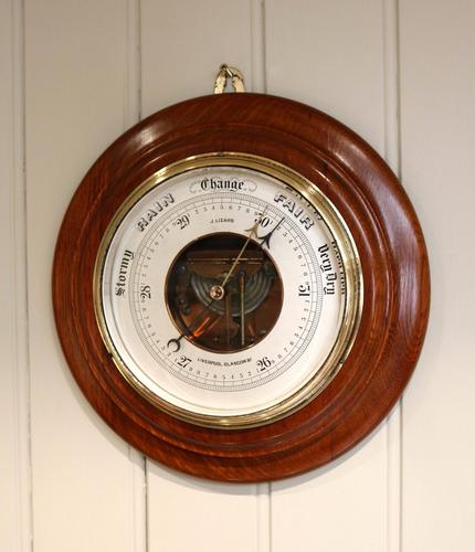Large Oak Aneroid Barometer c.1890 (1 of 1)