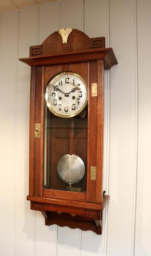 Oak Arts & Crafts Striking Wall Clock c.1910 (1 of 1)