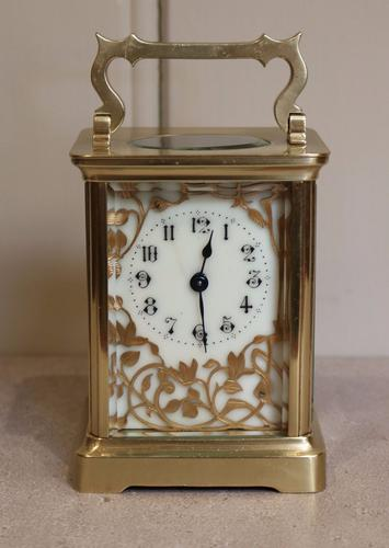French Brass Carriage Clock with Fancy Dial c.1890 (1 of 1)