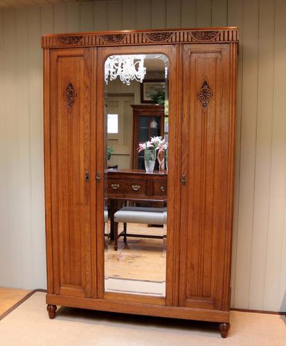 French Oak Mirrored Door Wardrobe / Armoire c.1920 (1 of 1)