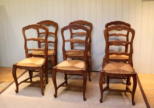 Set of Six French Cherry Wood Dining Chairs (1 of 1)