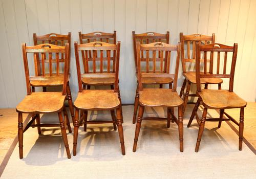 Set of Eight Beech & Elm Dining Chairs (1 of 1)