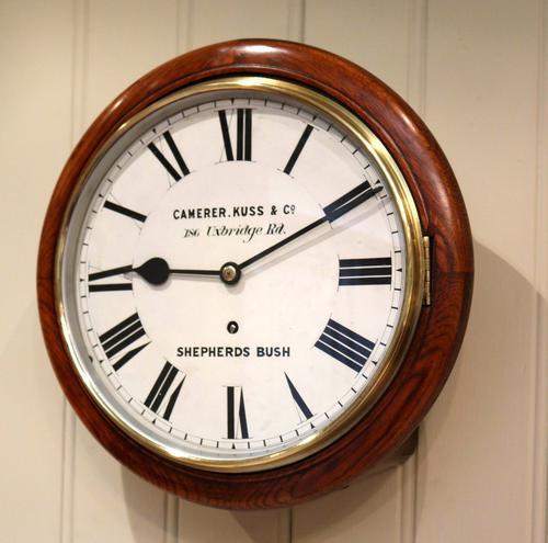 """12""""Solid Oak Dial Clock c.1890 (1 of 1)"""