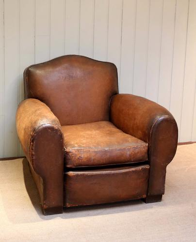 Art Deco  Leather Armchair C.1920 Pair Available) (1 of 1)