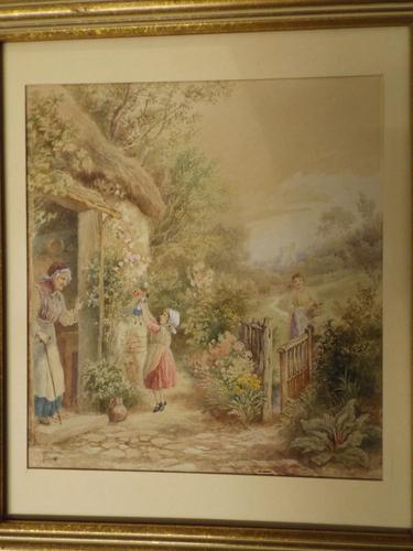 After Birket Foster Old Lady & Children by Cottage Door (1 of 8)