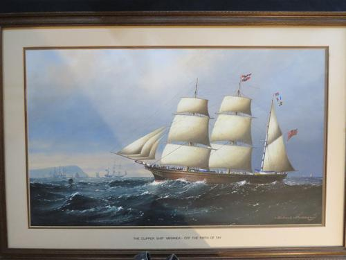 Large Marine Painting by Michael Matthews Miranda Clipper Ship (1 of 6)