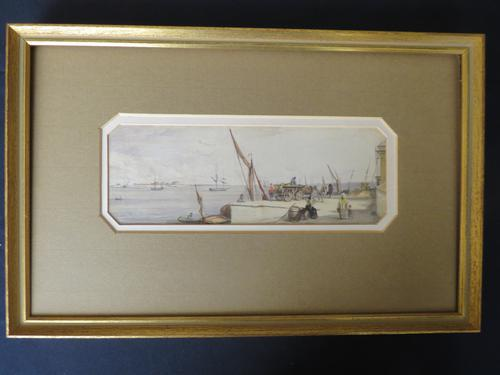 Busy Port Marine Scene Watercolour c.1780 (1 of 6)