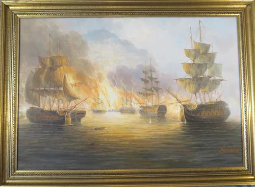 James Hardy Large Sea Battle Oil on Board (1 of 5)