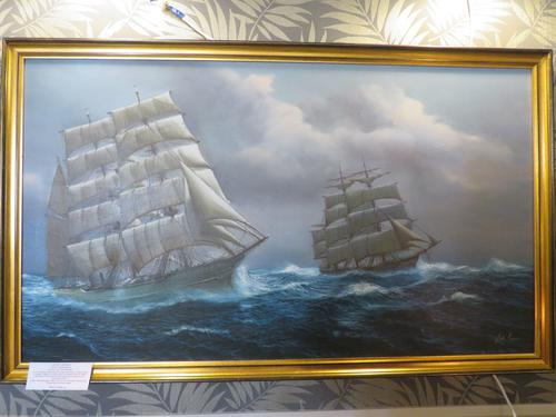 Large 4 Foot Plus Marine Painting Tea Clippers RAcing 20th Century (1 of 6)