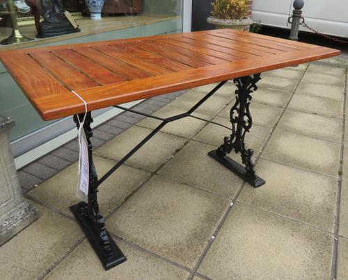 Restored & Refurbished Garden Table Cast Iron Teak Top (1 of 1)
