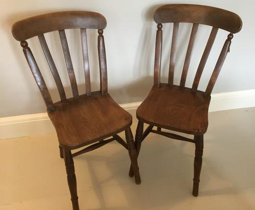 Pair of Slat Back Kitchen Chairs (1 of 5)