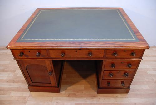 Antique Victorian Partners Writing Desk with Green Leather Top (1 of 1)