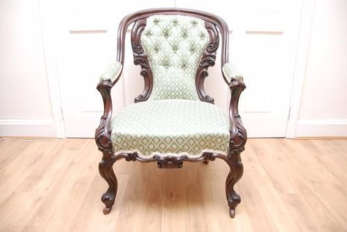Antique Victorian Mahogany Carved Armchair on Cabriole Legs (1 of 7)