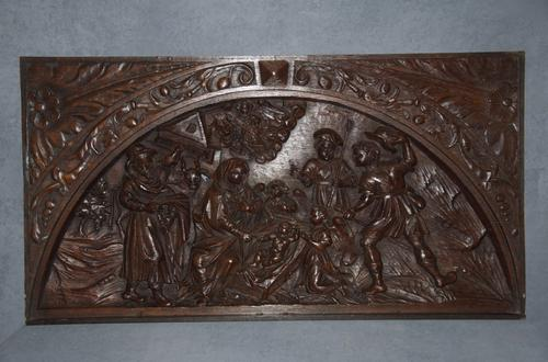 Large 16th Century Oak Flemish Carved Panel (1 of 4)