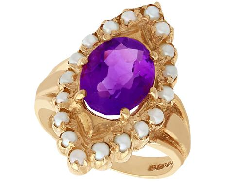 2.51ct Amethyst & Seed Pearl, 9ct Yellow Gold Dress Ring - Vintage 1976 (1 of 9)