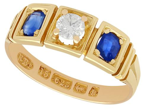 0.62ct Sapphire & 0.29ct Diamond and 15ct Yellow Gold Three Stone Ring - Victorian (1 of 9)