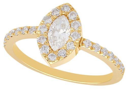 0.82ct Diamond & 18ct Yellow Gold Cluster Ring - Vintage c.1990 (1 of 9)
