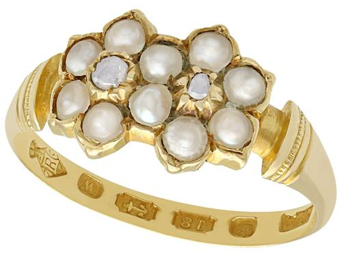 Pearl & Diamond, 18ct Yellow Gold Dress Ring - Antique 1871 (1 of 9)