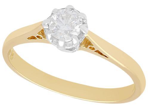 0.38ct Diamond & 18ct Yellow Gold, Platinum Set Solitaire Ring - Vintage c.1950 (1 of 9)