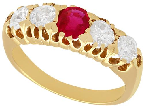 0.82ct Diamond & Synthetic Ruby, 18ct Yellow Gold Ring - Antique c.1910 (1 of 9)