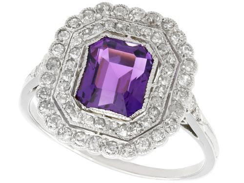 1.92ct Amethyst & 1.20ct Diamond, Platinum Dress Ring - Antique c.1920 (1 of 9)