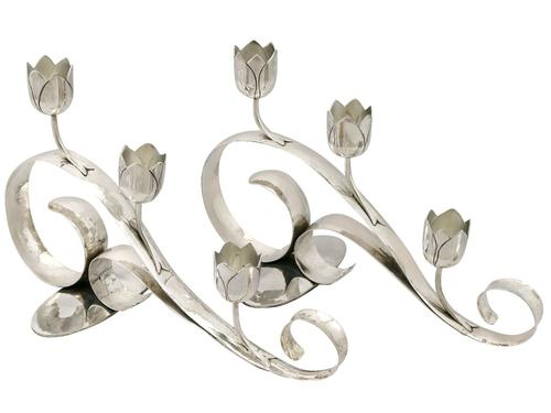 Sterling Silver Three Light Candelabra - Art Nouveau Style - Vintage 1959 (1 of 12)