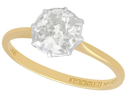 0.97ct Diamond & 18ct Yellow Gold Solitaire Ring - Antique c.1920 (1 of 9)