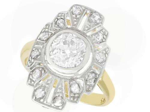 1.46ct Diamond & 14ct Yellow Gold Dress Ring - Art Deco c.1930 (1 of 7)